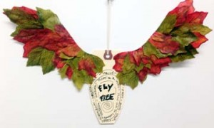 """Dollar Store Leaves are perfect """"feathers"""" for this winged reminder."""